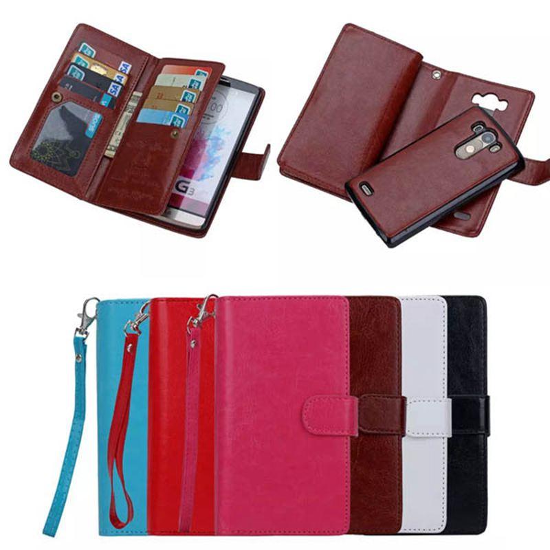 Multifunctional Detachable Wallet Case For LG G3 Leather Flip Cover Phone Bag Handbag Pouch Case For