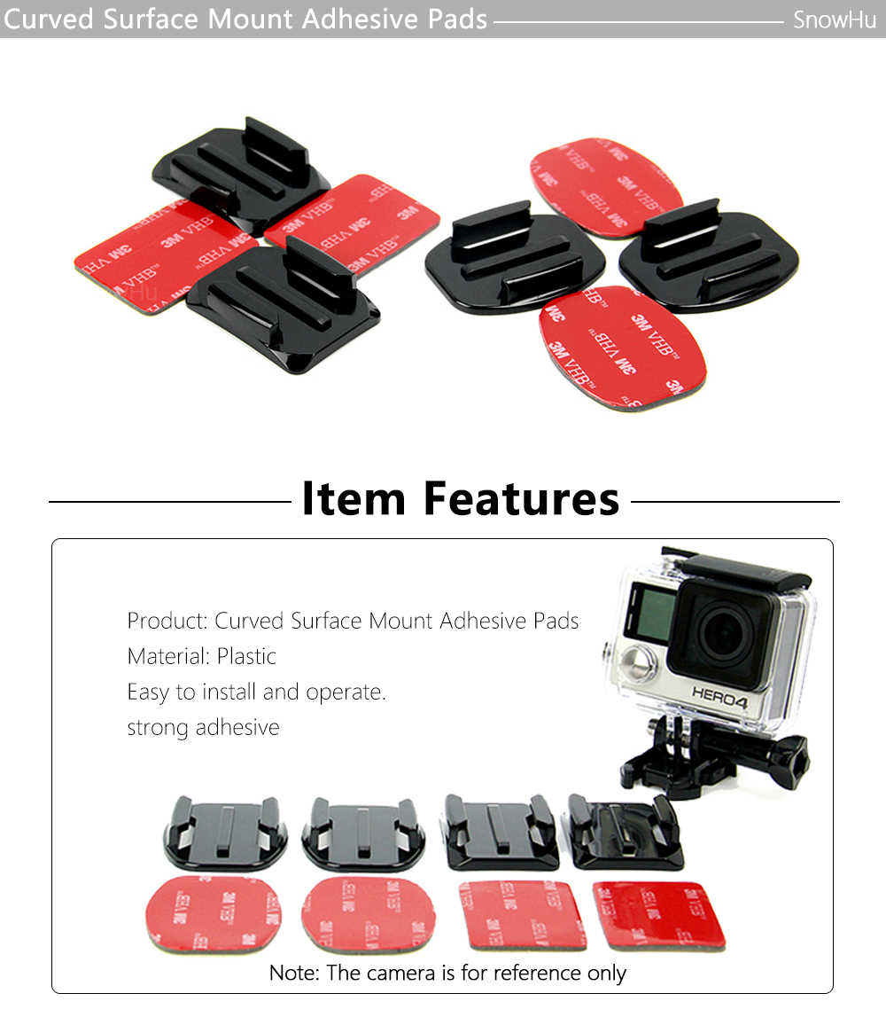 4 PCS Flat Curved Mount Set Sticker 3M Adhesive for Gopro Hero 8 7 6 5 4 3+ Xiaomi Yi Action Camera For Go pro Accessories GP10