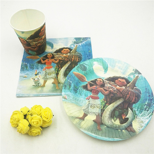 40pc Bag Theme Cup Plate Napkin Moana Party Supplies For Kids Event Birthday