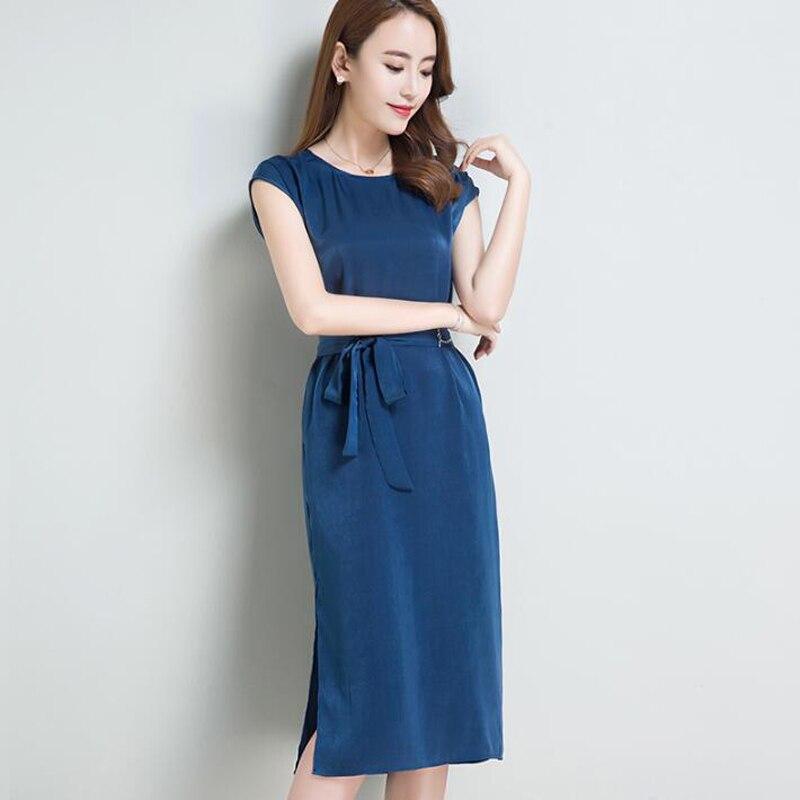 2018 été femmes soie robe décontracté lâche grande taille robes vestido élégant Slim femme avec ceinture robe de soirée robe femme