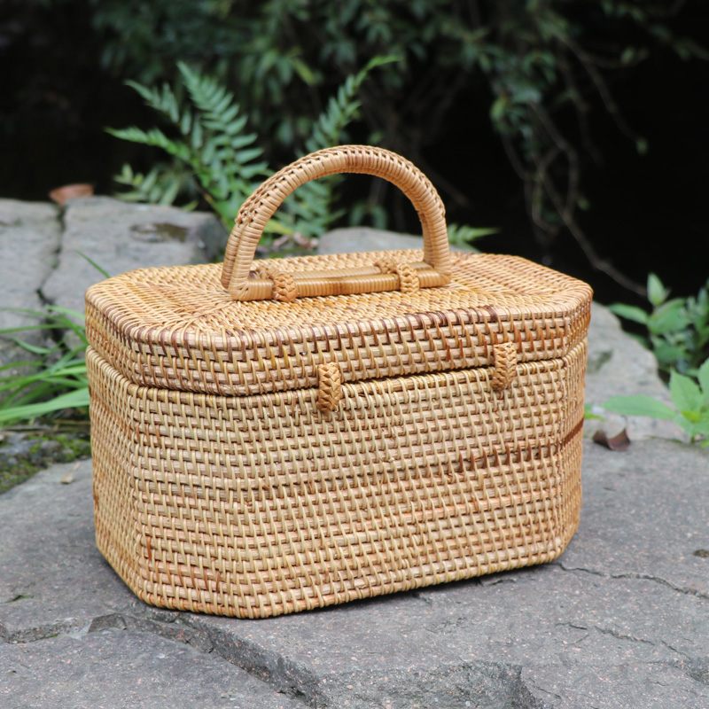 handmade Rattan woven storage box cosmetic makeup organizer handbag for jewelry tea boxes Containers travel Creative