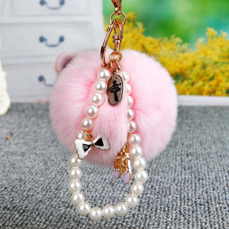 Fur Keychain 8CM Fluffy Rabbit Fur Key Chain Pearl Crystal Shoes Bag Charm Pompon Keyring Ballet