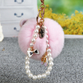 Fur Keychain 8CM Fluffy Rabbit Fur Key Chain Pearl Crystal Shoes Bag Charm Pompon Keyring Ballet Girl Fur Pompom Pumpon Llaveros