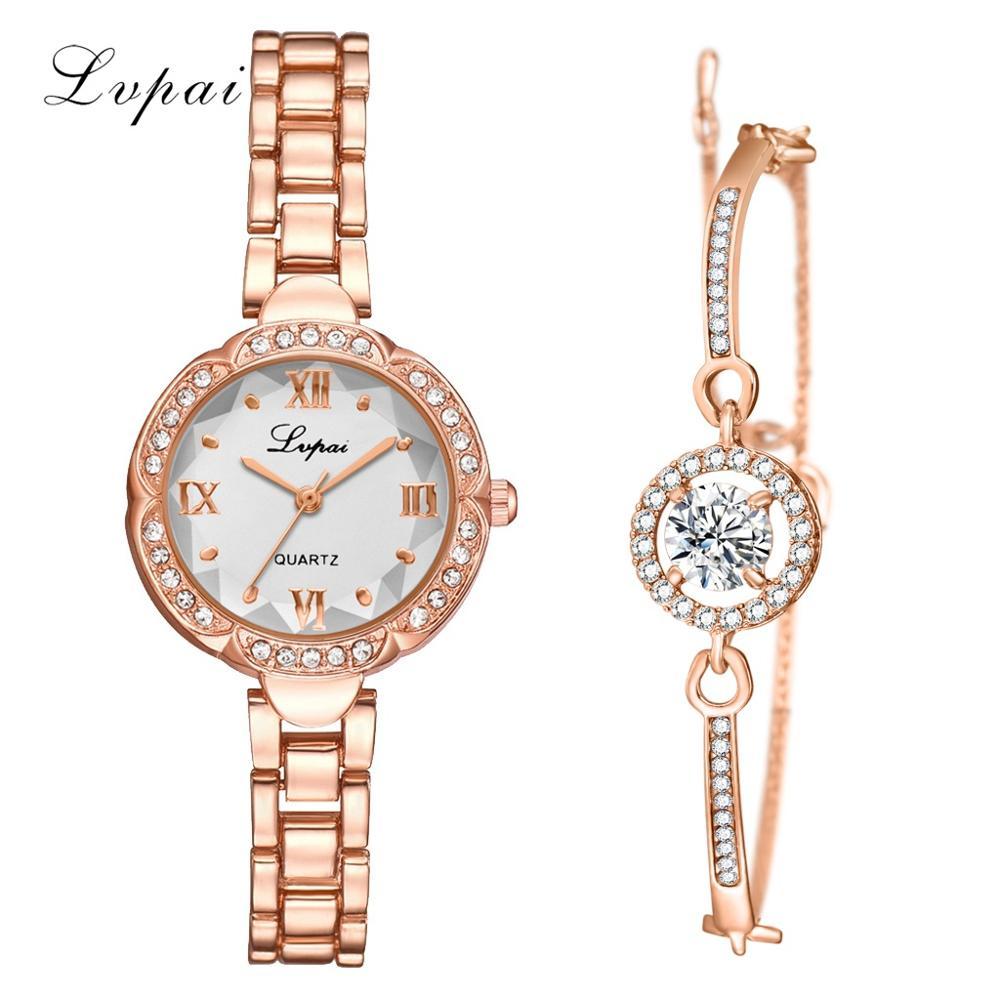 Lvpai Fashion Gold Lady Wristwatch Luxury Simple Women Bracelet Watches Casual Stylish Female Gift Clock 2 Pcs Set Ulzzang Style