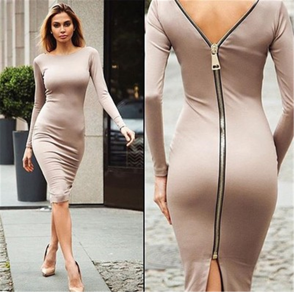 Bodycon Sheath Dress Little Black Long Sleeve Party Dresses Women Back Full Zipper Robe Sexy Femme Pencil Tight Dress Sexy