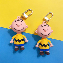 New INS Cute Cartoon Charlie Brown Key Chain For Ladies Creative Car Bag Charms Accessories Anime Keychain Boyfriend Gifts