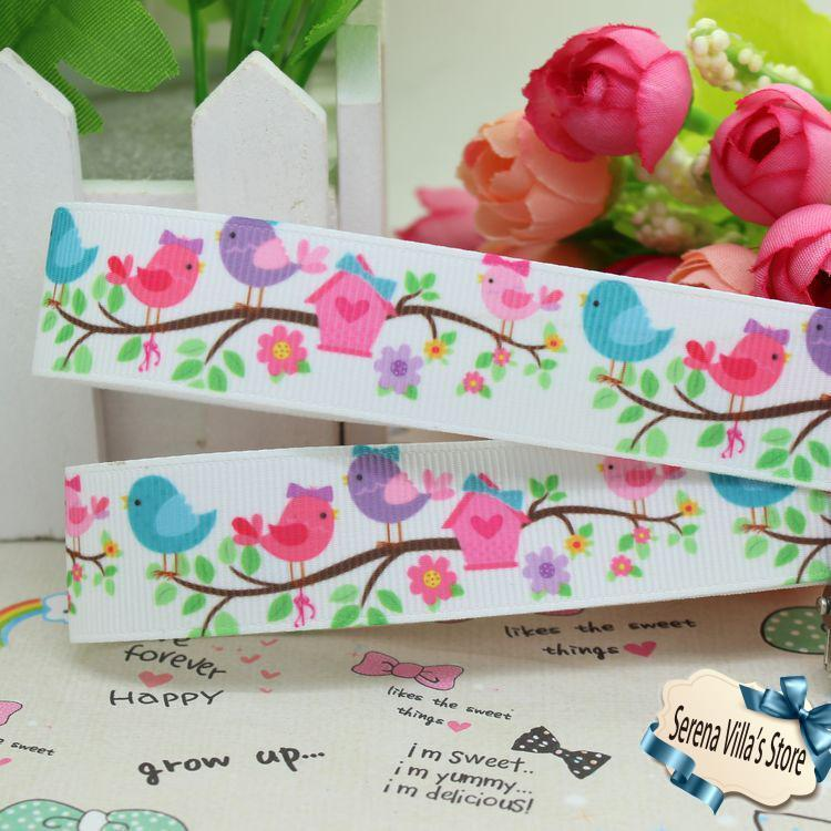 7/8inch bird horse printed grosgrain ribbon hairbow diy party decoration 22mm wholesale birthday gift paking gift wrap