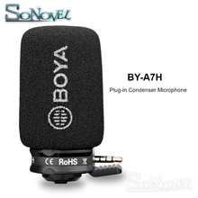 BOYA BY-A7H Condenser Video Vlogging Recording Microphone 3.5mm Interface for iPhone Samsung Huawei IGTV Youtube Live Show boya by mm1 compact on camera video microphone youtube vlogging recording mic for iphone huawei smartphone dji osmo canon dslr
