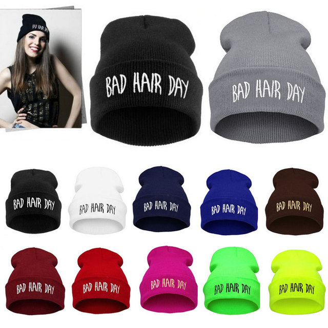f9e8736926a Winter Unisex Men Women s Hats Bad Hair Day Letter Print Snap Back Beanie  bonnet femme gorro Knit Hip Hop Punk Hat Cap-in Skullies   Beanies from  Apparel ...