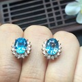 Certificated 100% natural perfect Brazil blue topaz earrings for women Chiristmas present natural topaz gems size 6*8mm