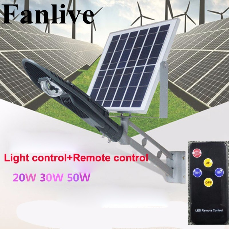 8pcs Solar Panel Remote Controller Solar Street Lamp 20W 30W 50W LED Street Light Outdoor Garden Path Spot Wall Emergency Lamp