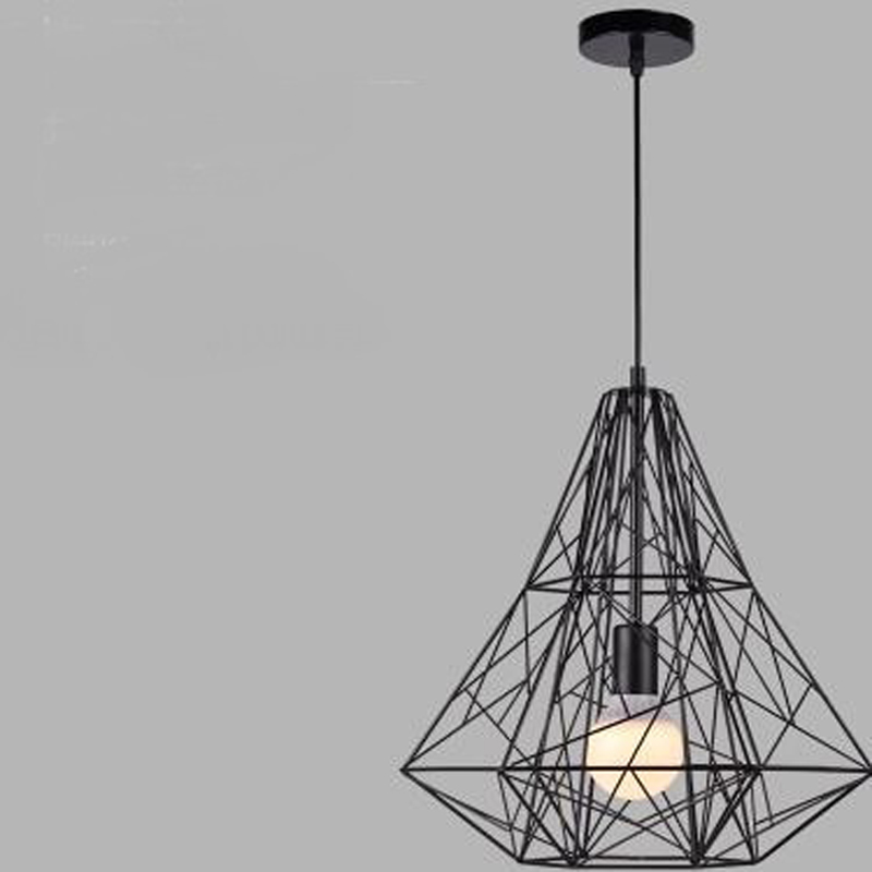 Loft American retro industrial iron cage pendant light personality cafe bar Nordic creative Diamond Pendant ZH GY182 american iron cage pendant light iron restaurant loft bar cafe individuality retro industrial hanging light