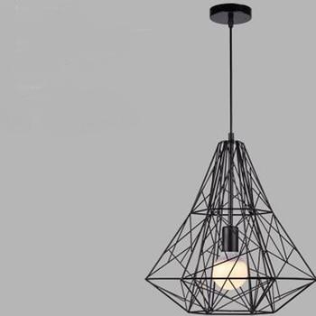 Loft American retro industrial iron cage pendant light personality cafe bar Nordic creative Diamond Pendant ZH GY182