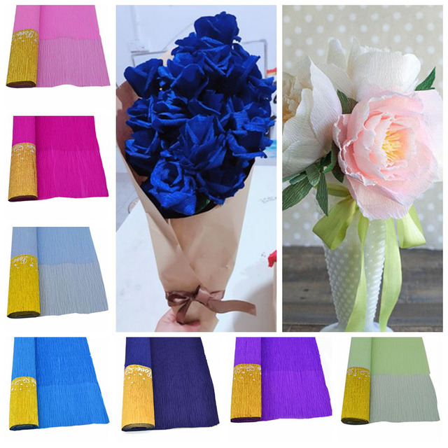 50250cm colorful crepe paper streamers diy flowers wrapping 50250cm colorful crepe paper streamers diy flowers wrapping material gifts packing birthday wedding party mightylinksfo