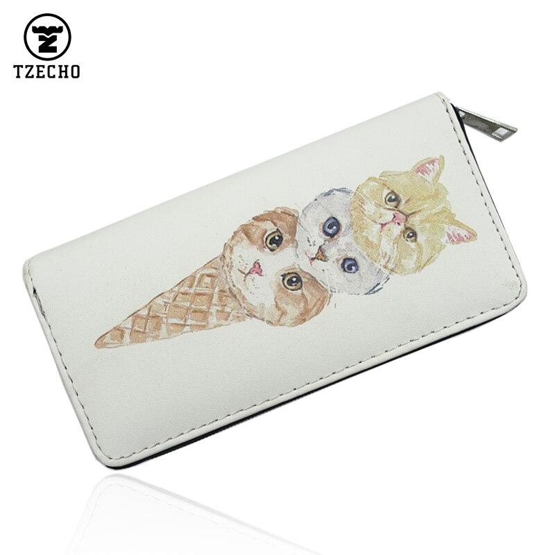 TZECHO Zipper Around Womens Wallets Leather Print Interesting Cat Long Femal Purses Coin Pocket Credit Card Holder Clutch Bag