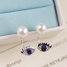 Moda simulado perla pendientes Tiny CZ piedra de cristal azul ojo doble lado trasero cuelgan pendientes mujeres joyería oro blanco Color