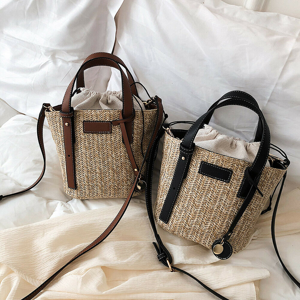 2019 Brand New Style 2IN1 Women Bohemia Straw Bag Woven Rattan Handbag Crossbody Summer Beach Bags
