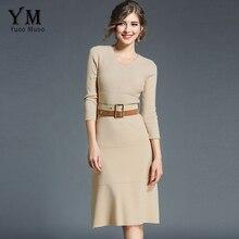 Yuoomuoo новые женские осень-зима элегантная деловая модельная одежда с поясом Повседневное трикотажные дамы Бизнес работы платье приталенного облегающее платье