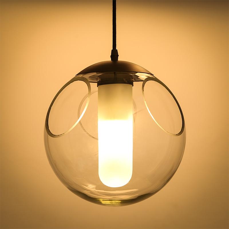 Nordic creative children room glass ball line modern restaurant bar chandelier bubble personality single head lamp - 3