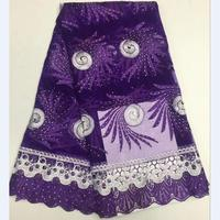 2018 French Lace Fabric With Beads Purple African Lace Fabric High Quality 2018 Net Lace Nigerian Material Dress for women