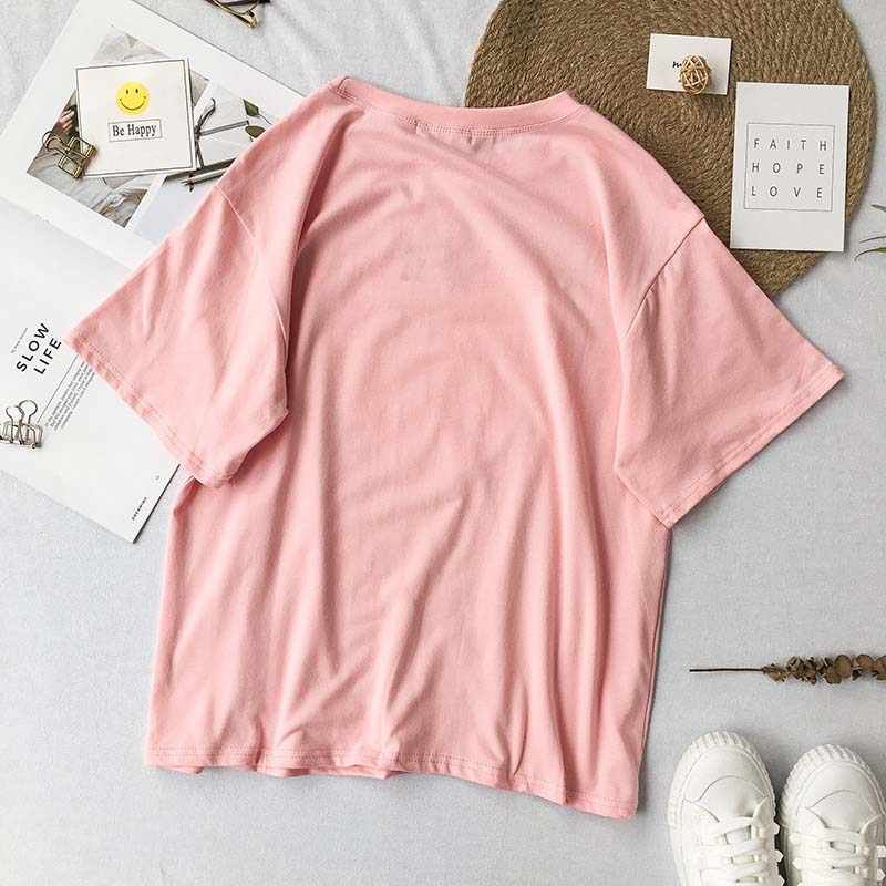 NiceMix 2019 Summer Kawaii Women Tops Print Cartoon Girl Female Harajuku Pink Short Sleeve Tee Shirt Loose T shirts Femme in T Shirts from Women 39 s Clothing