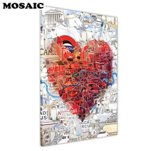 5D diamond paintings London Heart Collage diamond pattern beadwork 3d DIY pictures needlework landscape diamond mosaic craft(China)