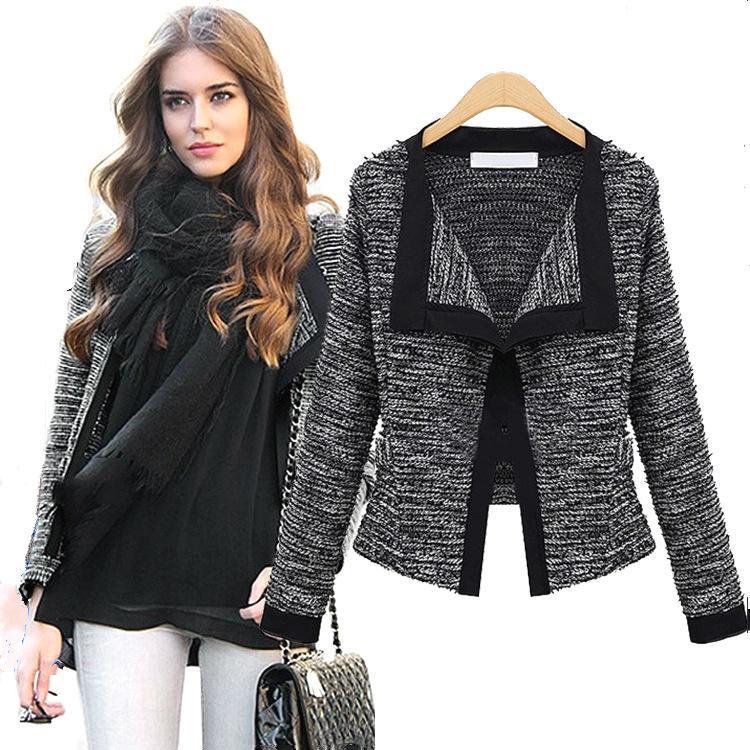 2018 Women Cardigan Coat Loose Long-Sleeve Knit Women Fashion Sweater Winter Cardigans Coat Striped Black Beige
