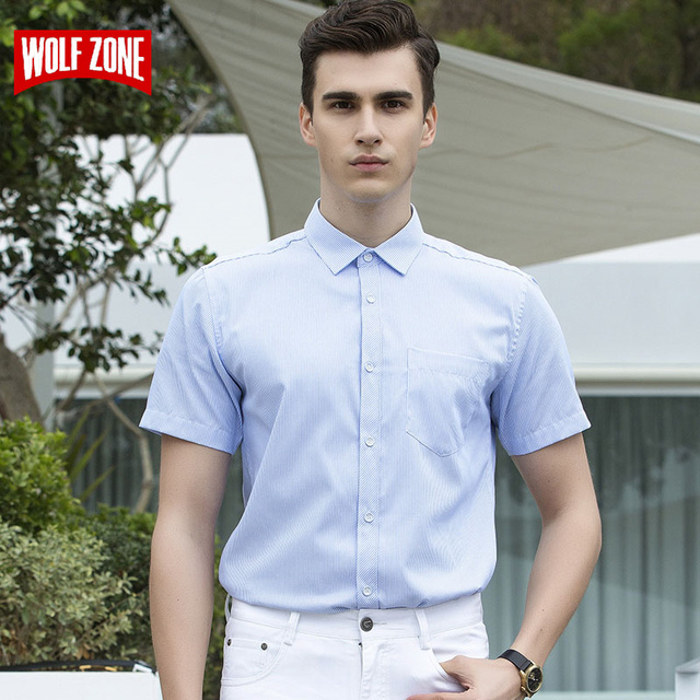 c135ea101a0c WOLF ZONE Summer Short Sleeve Shirt Men 2018 Business Casual Dress Shirts  Mens Fashion Clothes Brand