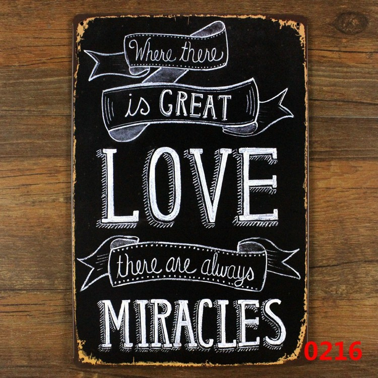 Love Plaques Quotes Pleasing Love Quote Miracles Vintage Metal Sings Wall Painting Art Vintage