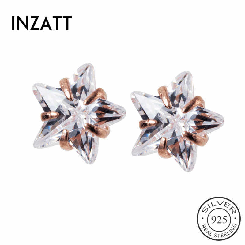 INZATT Real 925 Sterling Silver Zircon Star น่ารักสตั๊ดต่างหูแฟชั่นเครื่องประดับอินเทรนด์ 2019 อุปกรณ์เสริมของขวัญ