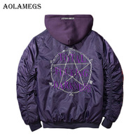 Aolamegs Mens Autumn Jacket Embroidery Geometry Hat Detachable MA1 Bomber Jacket Stand Collar Fashion Outwear Men
