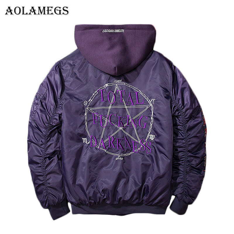 Aolamegs Mens Autumn Jacket Embroidery Geometry Hat Detachable MA1 Bomber Jacket Stand Collar Fashion Outwear Men's Coat Bomb