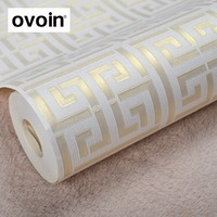 Contemporary Modern Geometric Wallpaper Neutral Greek Key Design Wall Paper For Walls Home Decor Tan Gold
