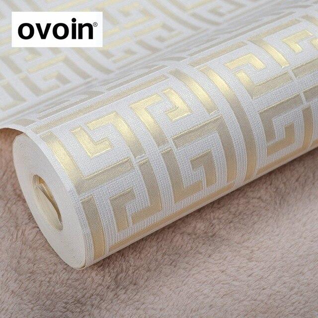 Gold Griechischen Schlüssel Muster Weiß Tapete Moderne Geometrische