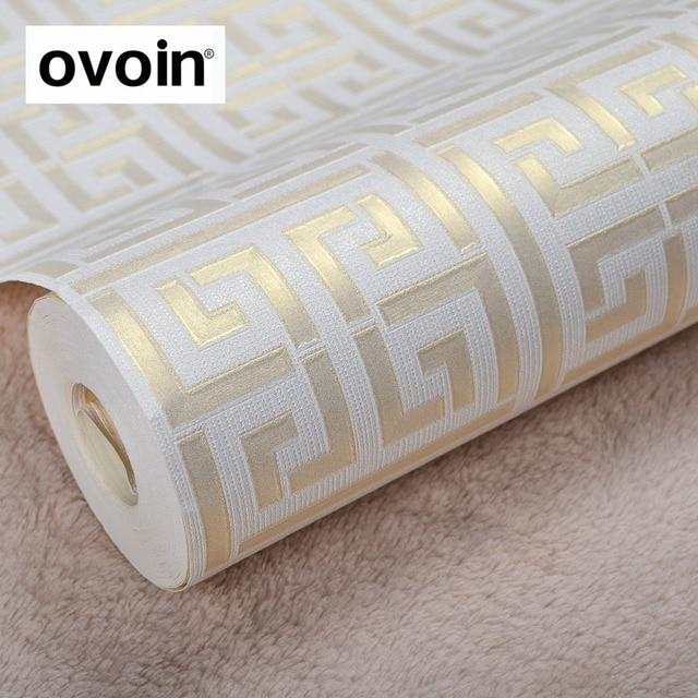 Gold Griechischen Schlussel Muster Weiss Tapete Moderne Geometrische