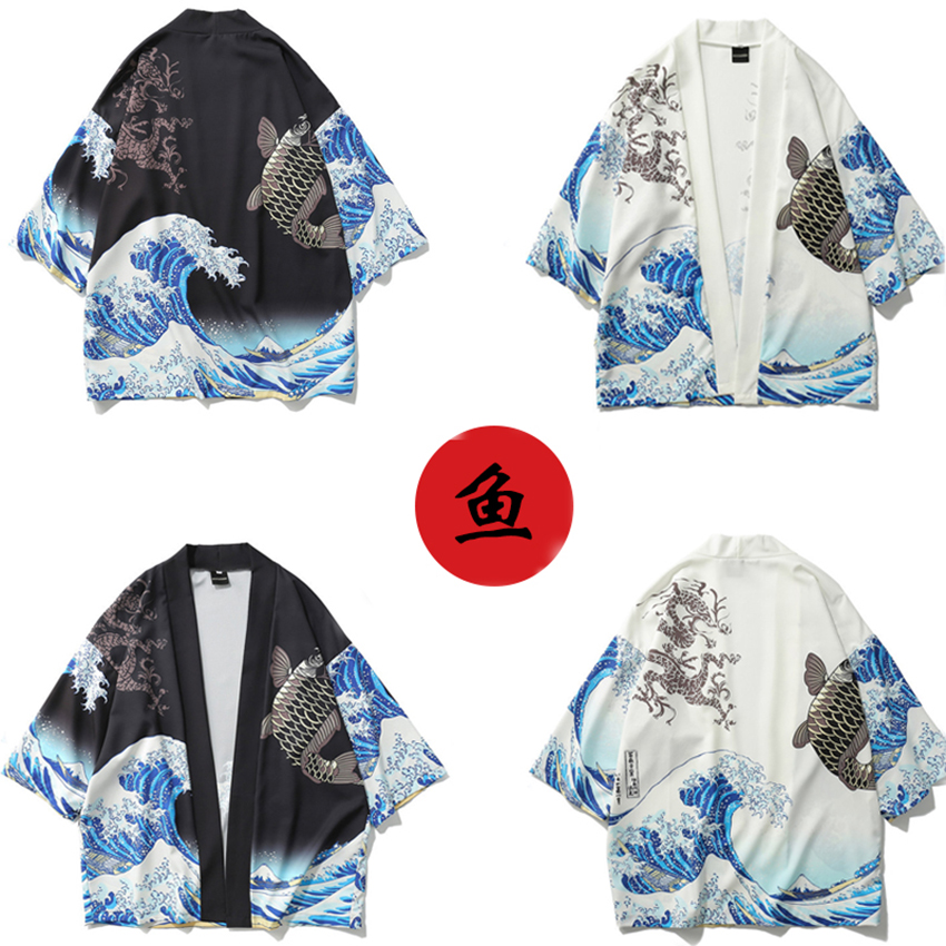 Samura Wave Fish Print Japanese Style Asian Clothes Daily Kimono Yukata Unisex Harajuku Festival of Sakura Retro Haori Jacket