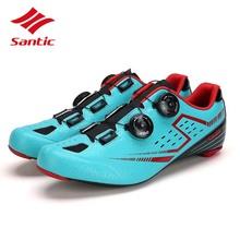 Santic kolarstwo szosowe buty mężczyźni 2018 z włókna węglowego buty rowerowe samoblokujący rower pasta Athletic Sneakers Sapatilha Ciclismo tanie tanio Dla dorosłych Slip-on Średnie (b m) Pasuje prawda na wymiar weź swój normalny rozmiar Oddychające S12021 Syntetyczny