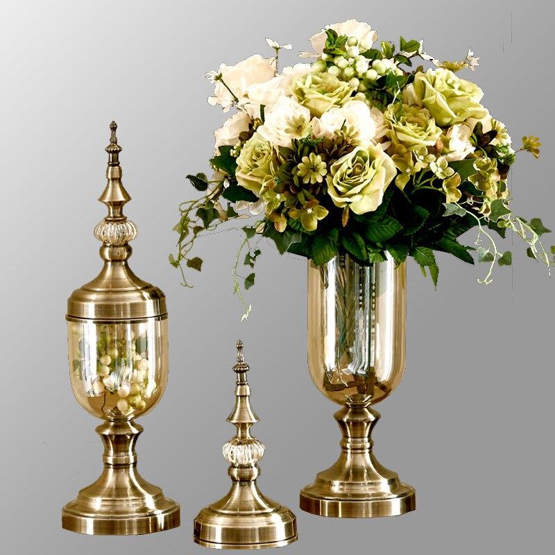 altos jarrones de cristal de bronce florero decoracin florero tarro de caramelos tapletop floreros decoracin saln en jarrones de hogar y