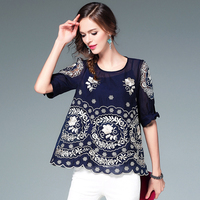 Top Grade Blouses High Quality Loose Women Half Bow Sleeve Designer Embroidery Hollow Out Petal Casual