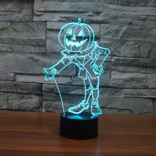 Free Ship Color changing Flashing Pumpkin Face Acrylic 3D Doll LED Night Light touch sensitive puppet USB Lamp