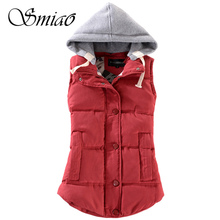 2019 New Autumn Winter Fashion Cotton Vest Women Patchwork Sleeveless Hooded Casual Coat Colete Plus Size Warm Waistcoat Female цена