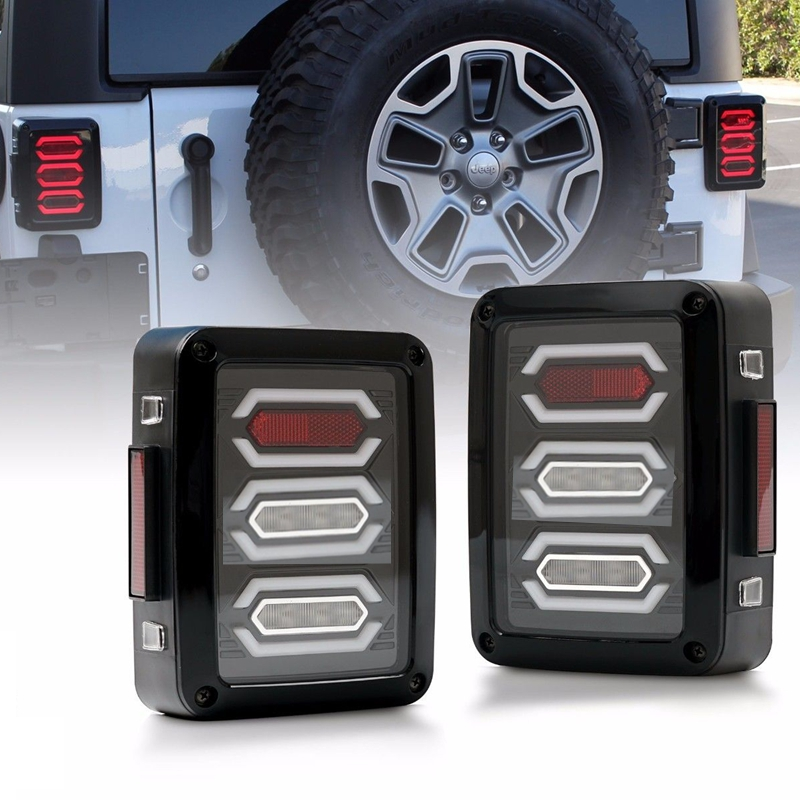 LED Tail Lights for Jeep Wrangler JK Brake Reverse Turn Signal Lamp Rear Parking Stop Back Up Lamp