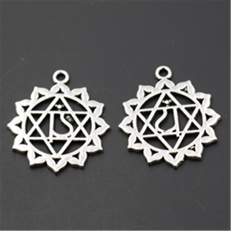 15pcs New Antique silver chakra charm zinc alloy pendants for necklace earrings DIY handmade fashion jewelry accessories A498