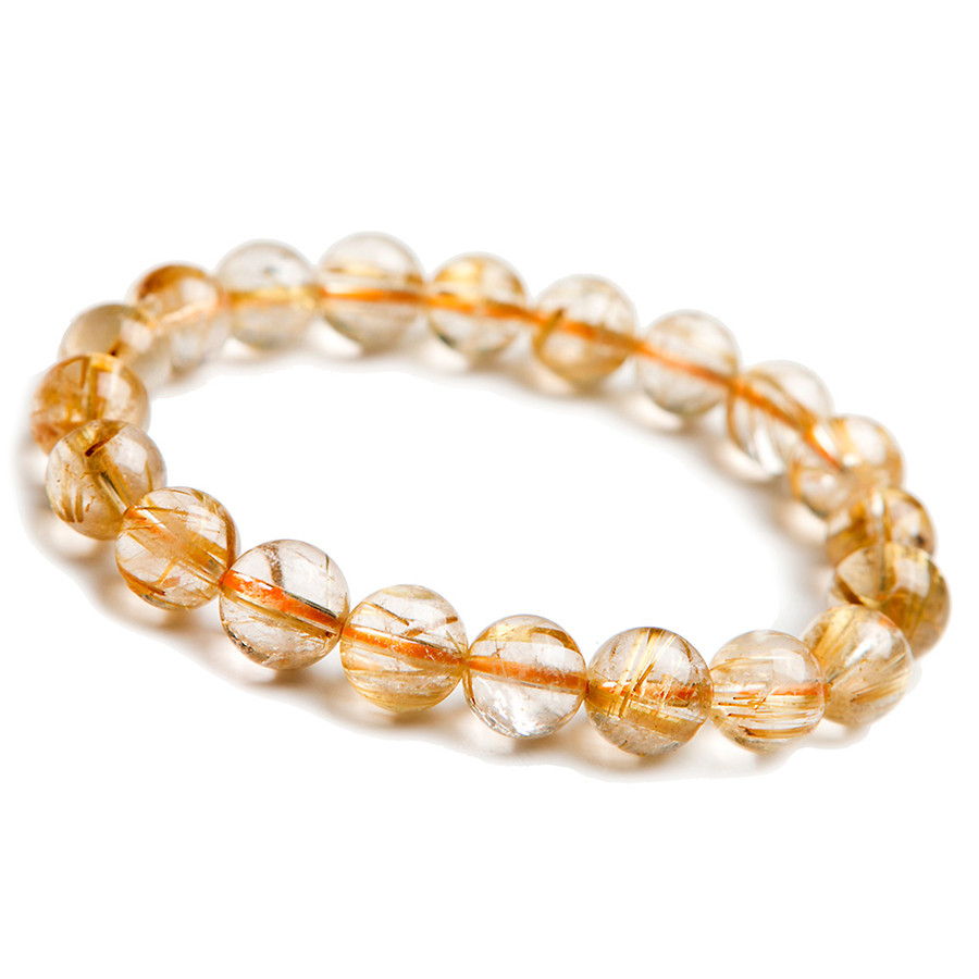 Genuine Natural Gold Rutilated Quartz Titanium Crystal Charm Bracelets 10.5mm Clear Transparent Stretch Round Beads Bracelet