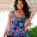 Sexy Mujeres de La Manera Sin Mangas de La Camiseta Tops Casual Loose Beach Desgaste de Compras de Impresión V-cuello Del Verano Camisetas Ropa JA215
