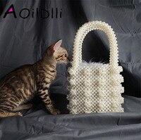 Handmade Pearl Lady Tote Luxury Handbags Small Box Evening Bag Fashion Vintage Female Top handle Purse Chic ins Box Bag Brand