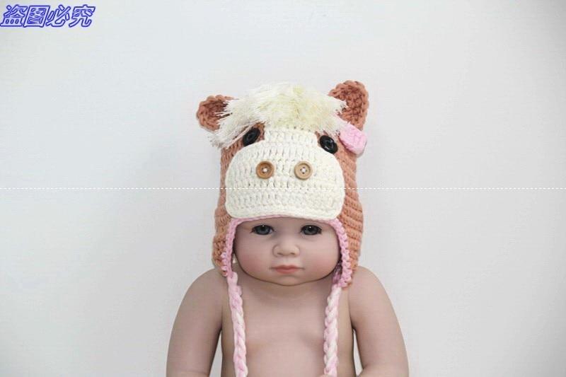 Envío libre, 100% algodón bebé sombrero caballo, hermosa modelado ...