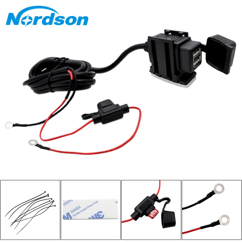 Nordson 12V Motorcycle USB Charger Moto ATV Dual USB Socket Waterproof Charger Power Adapter Outlet Power Motorcycle Accessories