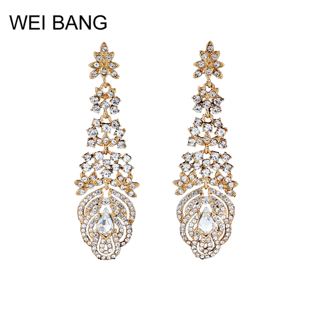 Weibang Luxury Chandelier Earrings For Women Gold Color Crystal Rhinestone Bride Long Wedding Jewelry Dropshipping