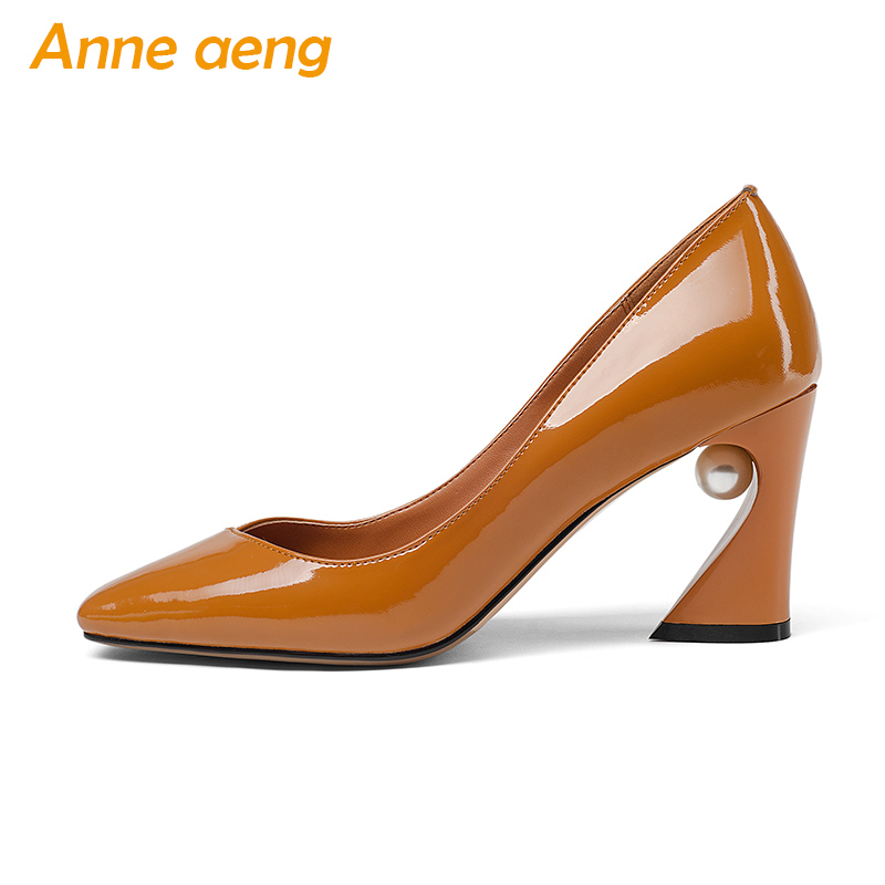 New Spring/Autumn Genuine Leather Women Pumps High Heels Pigskin Insole Pointed Toe Sexy Office Ladies Women Shoes Brown Pumps women pumps sexy open toe lace fashion pointed toe high heels new style shallow classic spring autumn single shoes ladies